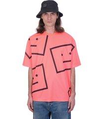 acne studios exford mega fac t-shirt in rose-pink polyester