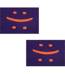 2 capachos divertido p/ porta 60x40cm smile71 - roxo - feminino - dafiti