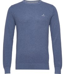 cotton pique c-neck gebreide trui met ronde kraag blauw gant