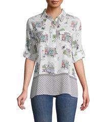 karl lagerfeld paris women's mixed print long-sleeve shirt - soft white - size xxs