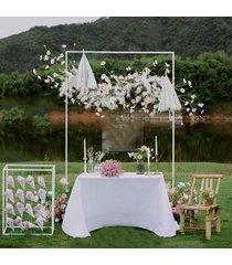 etapa marco de fondo del fondo de hierro forjado puesto de flores decorativas de la boda de encargo de oro plataforma arco cuadrado - blanco