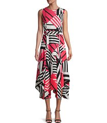 abstract-print asymmetrical dress