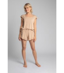 blouse lalupa la023 viscoze top met ruches mouwloos - cappuccino