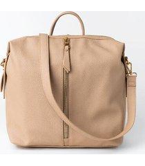 poppy front zipper backpack - sand