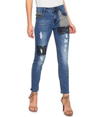 calça jeans desigual skinny denim azul