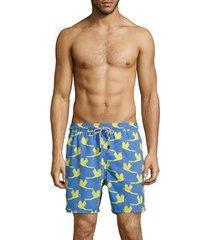 tom & teddy men's parrot-print swim shorts - blue - size l