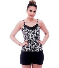 short doll ficalinda de blusa alça fina estampa animal print de zebra com renda guipir preta no decote e short preto. - kanui