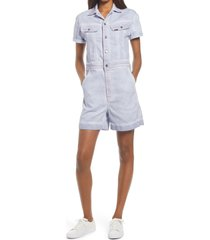 women's lee denim coverall romper, size large - grey