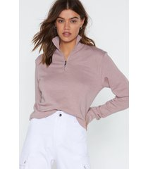 womens zip line cropped sweatshirt - dusty rose
