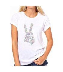camiseta coolest paz e amor feminina