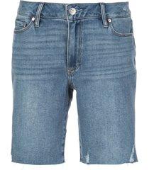 paige jax mid-rise distressed shorts - blue