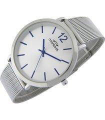 reloj plateado montreal acero tejido