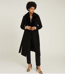 reiss pacey - faux fur shawl collar overcoat in black, womens, size 12