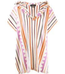 isabel marant striped hooded poncho - neutrals
