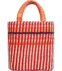 a a k s aaks delma raffia tote in red/pale/pink/orange/navy at nordstrom