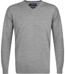pullover profuomo grijs melange merinowol