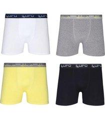 cueca boxer algodão com elastano 4 peças