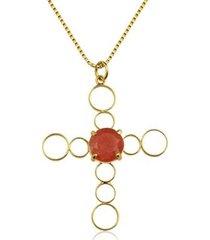 colar toque de joia crucifixo jade vermelha ouro amarelo