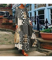 zanzea plus s-5xl vestido de camisa de lunares de manga larga para mujer vestido midi étnico vintage -verde