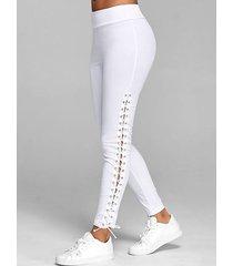 lace up plain skinny pants