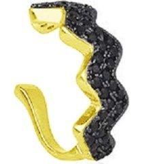 brinco piercing zigue zague cristais zircônias negras banhado a ouro 18k