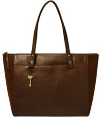 fossil women's rachel leather satchel with suede gussets