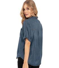camisa manga corta boyfriend azul ragged pf51110919