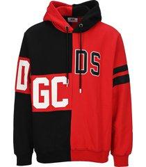 gcds logo-panelled cotton hoodie