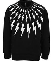 neil barrett fair-isle thunderbolt lightweight jersey sweatshirt