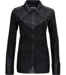 nanushka pleated leatheret shirt