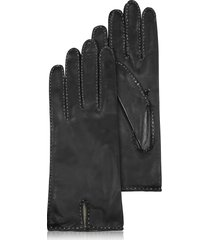 forzieri designer women's gloves, women's stitched cashmere lined black italian leather gloves