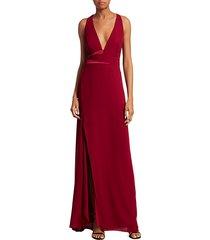 asymmetric drape sleeveless v-neck gown