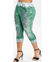 plus size 3d lace ripped print faux denim leggings
