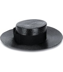 saint laurent small straw boater hat - black