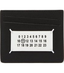 maison margiela men's leather card holder - black/paint