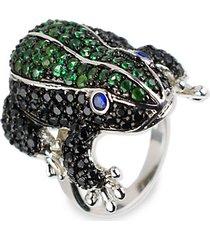 animal trend rhodium-plated & crystal ring