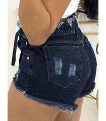 cinturón design shorts de mezclilla con bolsillos laterales y dobladillo con borlas