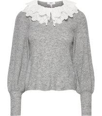 objgiselle l/s knit pullover 113 stickad tröja grå object