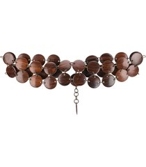 yves saint laurent pre-owned 1970's wooden necklace belt - brown