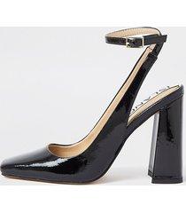 river island womens black ankle tie block heels