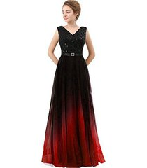 lemai plus size black sequined ombre chiffon gradient prom evening dresses red u
