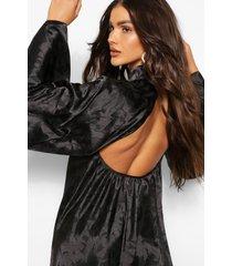 satijnen jacquard jurk met hoge hals en open rug, zwart