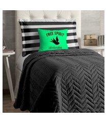 cobre leito apollo para cama de solteiro 4 peças - verde