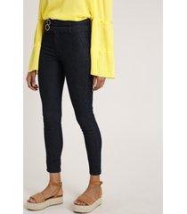 calça jeans feminina sawary skinny cintura alta com cintos azul escuro