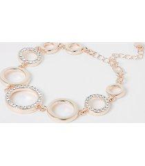 river island womens rose gold colour diamante bracelet