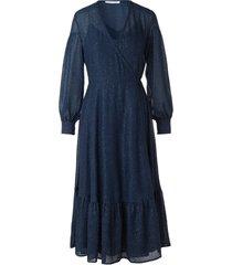 women's sams?e sams?e tulip swiss dot long sleeve wrap dress, size x-large - blue