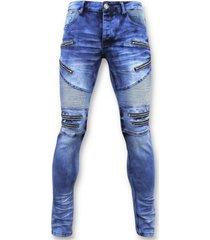skinny jeans true rise spijkerbroek - biker jeans zip - 3025 -