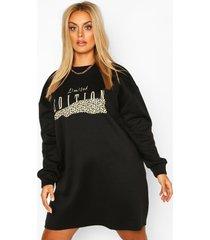 plus leopard oversized sweat dress