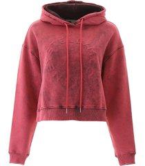 stella mccartney embossed logo crop hoodie