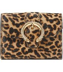 jimmy choo encrusted buckle leopard wallet - brown